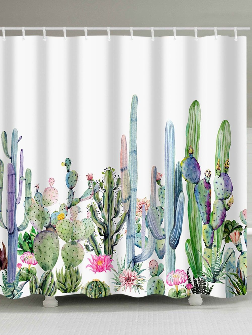 Green Plants Cactus Flowers Print Shower Curtain Multicolor W71