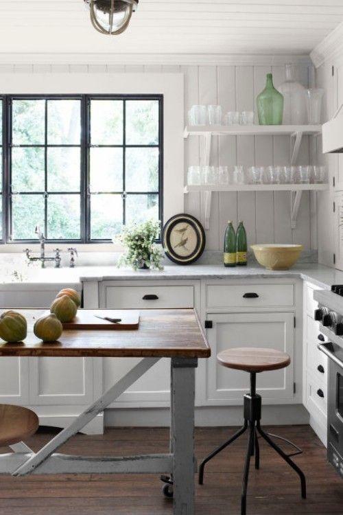 küche mit kochinsel industrieller stil weiße wände Küche Möbel - küche u form mit insel