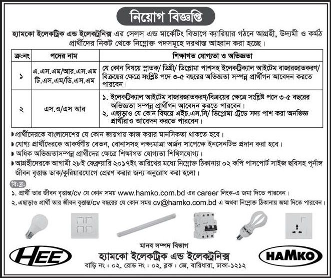 Sales\/Marketing Hamko Electric and Electronics Job Circular Job - sales marketing executive job description