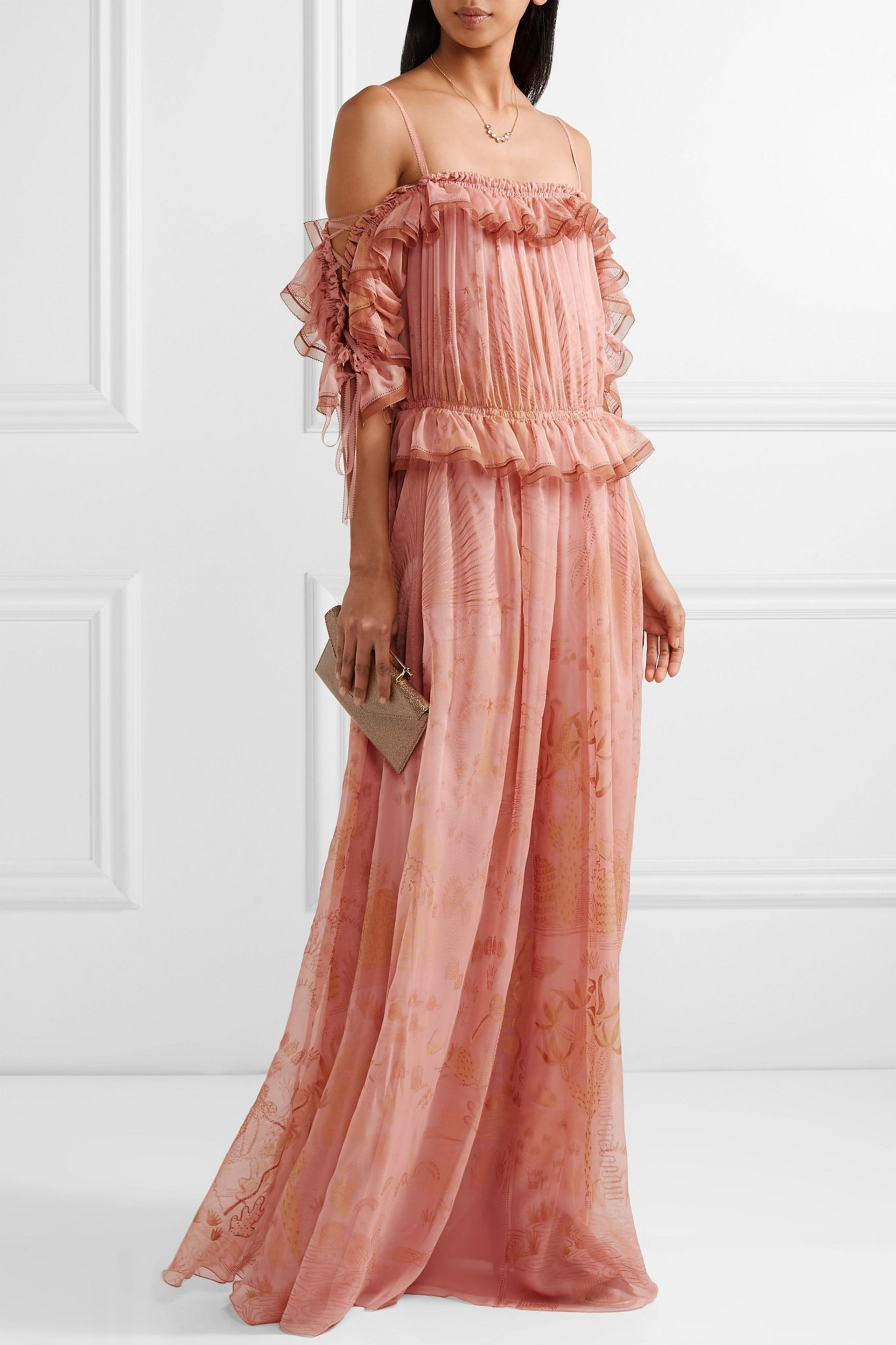 Off-the-shoulder ruffled printed silk-chiffon gown | VALENTINO ...