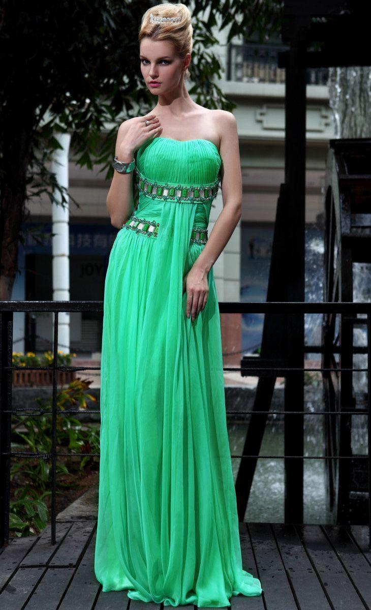 Hot Sale Strapless Beaded Green Long Evening Dress | Women\'s fashion ...