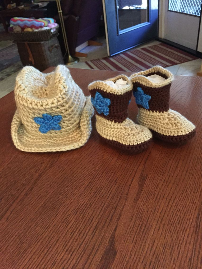 """Crocheted Cowboy hat and boots. Pattern by """"the lovely ..."""