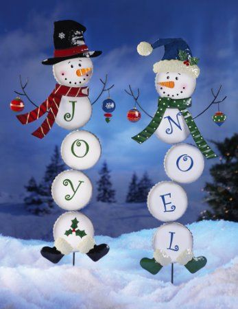 Collections Etc Holiday Snowman Stake Garden Decoration Joy Christmas Decor Christmas Yard Decorations Outdoor Christmas Christmas Yard Art