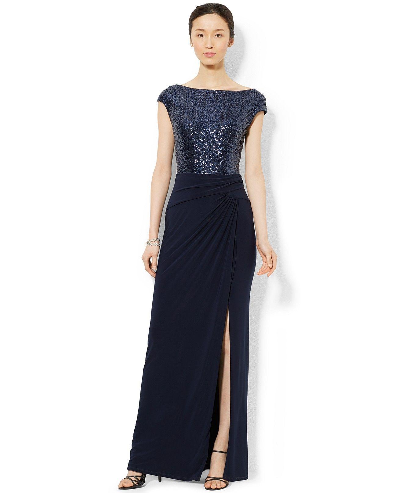 f69127a8b6f Lauren Ralph Lauren Sequined Boat-Neck Dress - Dresses - Women - Macy s