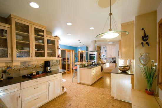 cork floors natural maple cabinets caesarstone countertops glass