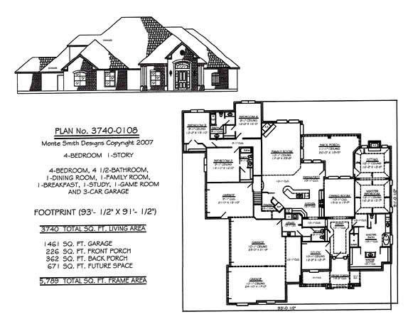 Bedroom House Plans One Story Joy Studio Design Gallery Best - 1 story bungalow house plans 3 car garage