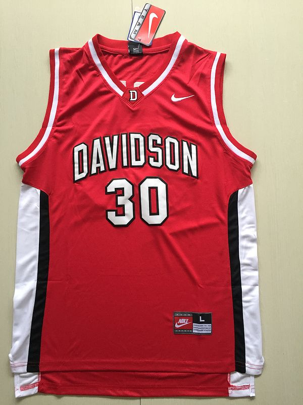 194e29b2457 Davidson Wildcat  30 Stephen Curry Red Nike Men 2017 NCAA Stitched New  Jersey