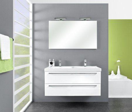 Budget badmeubels : Actieblok Cubic 120 cm m. spiegel incl. LED-verlichting | Happybad. Uit voorraad leverbaar !