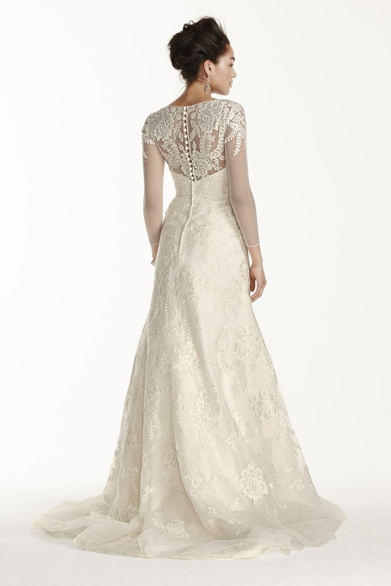 Petite Lace Wedding Dress With 34 Sleeves Style 7cwg704 Wedding