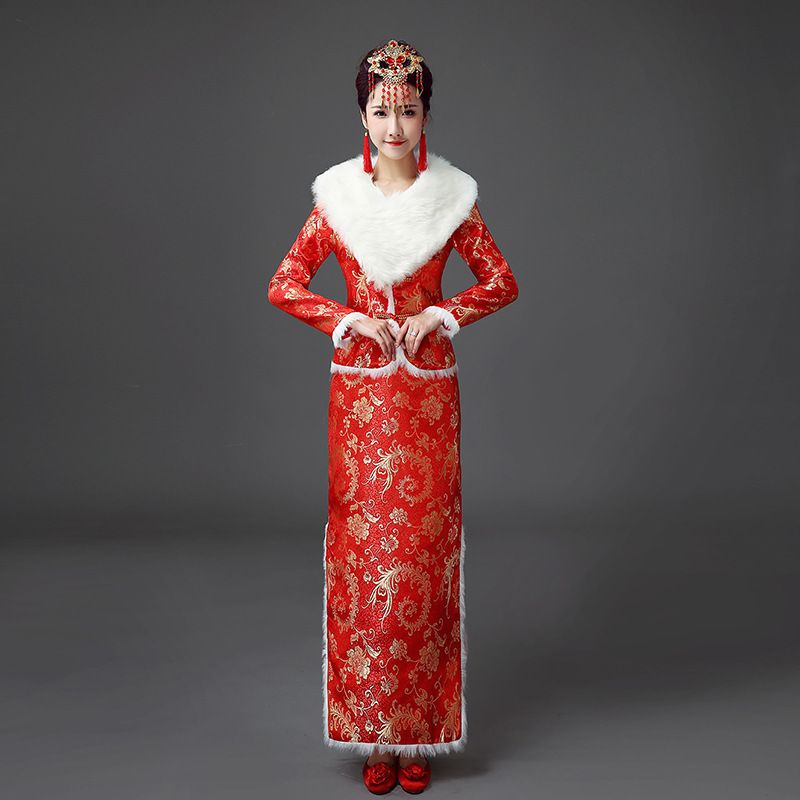 Chinese Traditional Dress Red Wedding Qipao Cheongsam Cotton Vintage ...