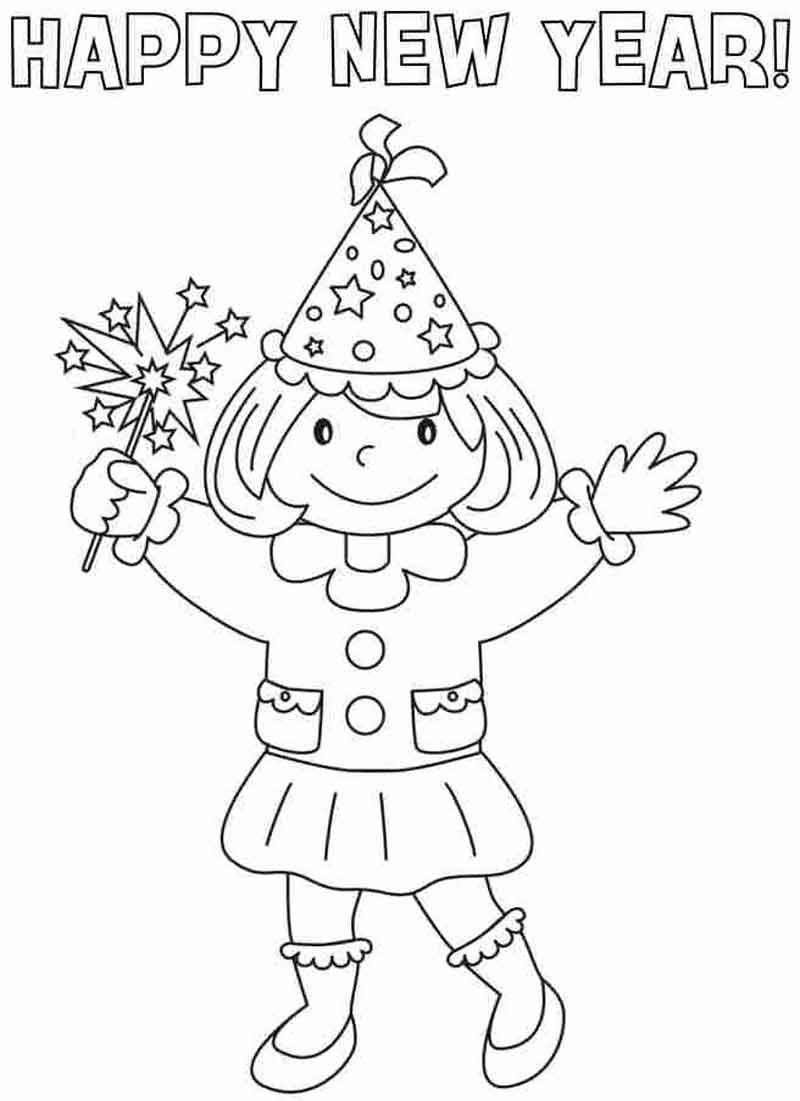 Girl Happy New Year Coloring Pages From Events Coloring Pages