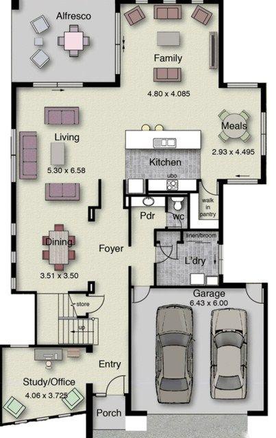 Modelo De Casa De Dos Pisos Con Terraza Floor Plans House