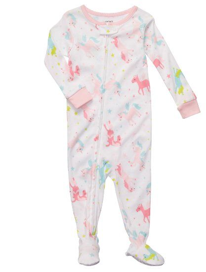 c194c6517 Amazon.com  Carter s Girls 12-24 Months Unicorn Cotton Footed ...