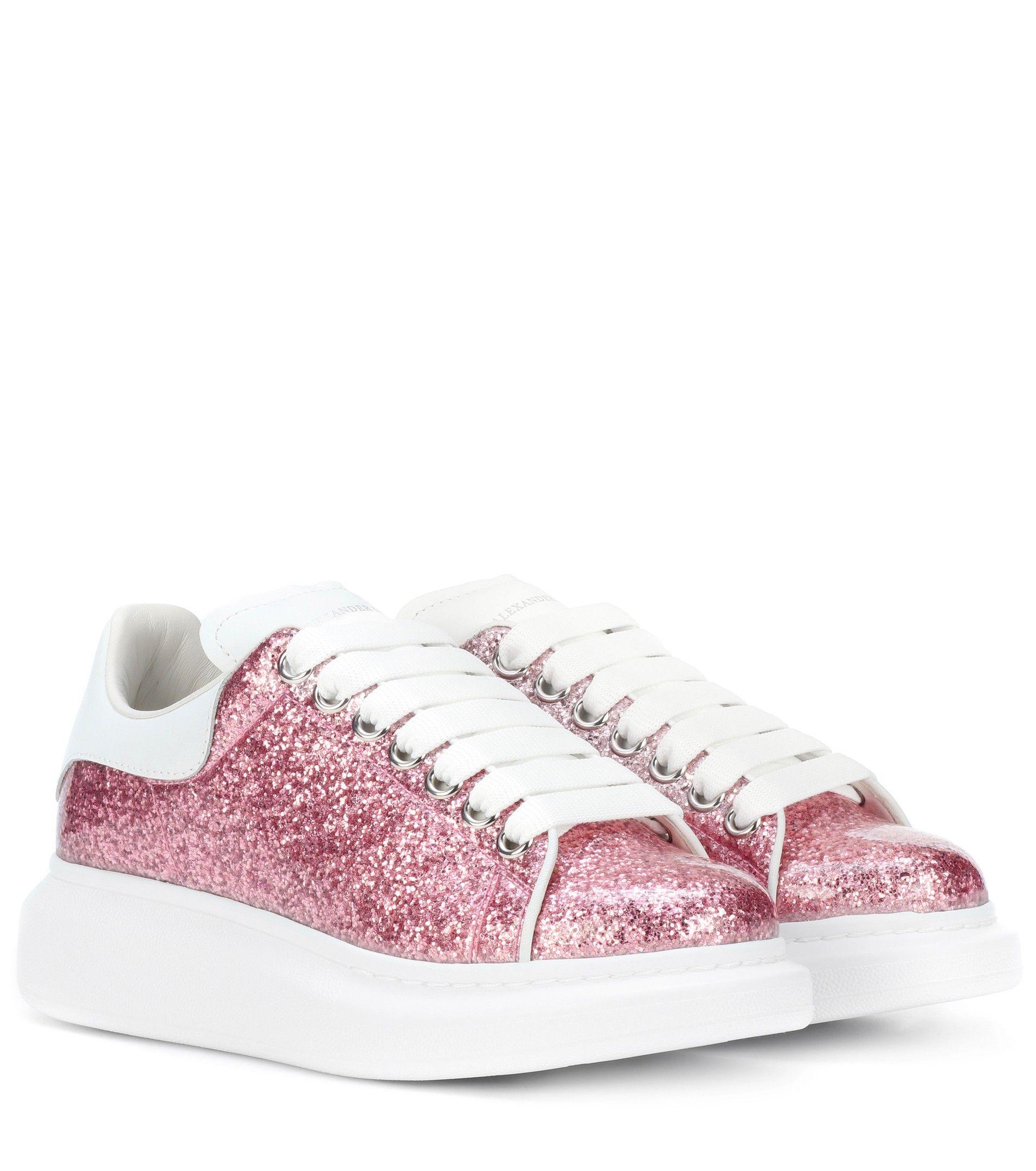 569d2a2325c1 Alexander McQueen - Glitter Platform Leather Sneakers
