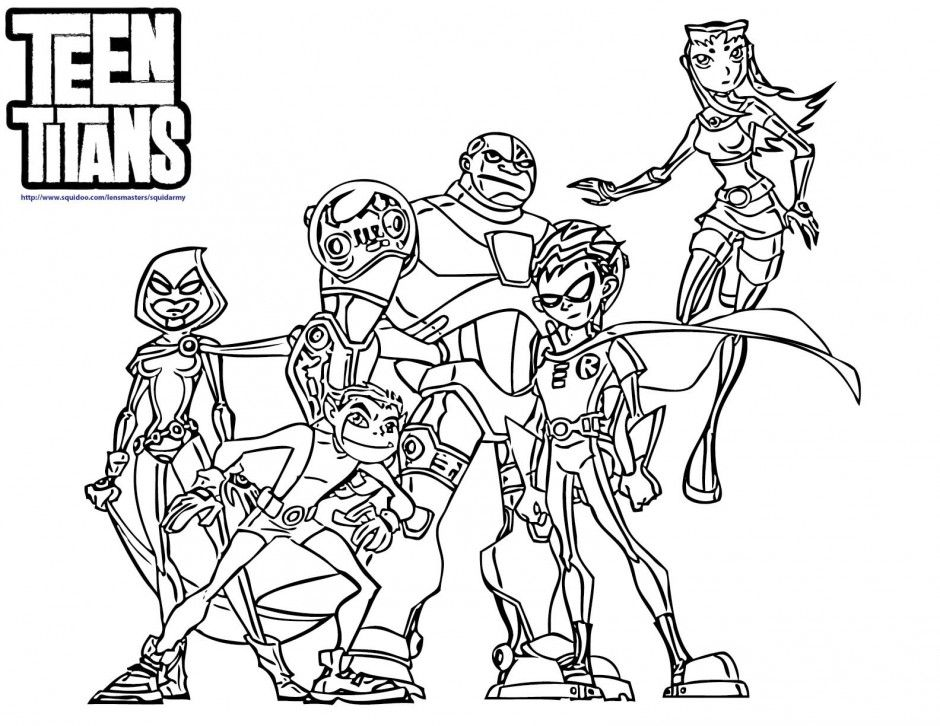 Teen-titans-coloring-pages-all-heroes.jpg (940×726) | Coloring 4 ...