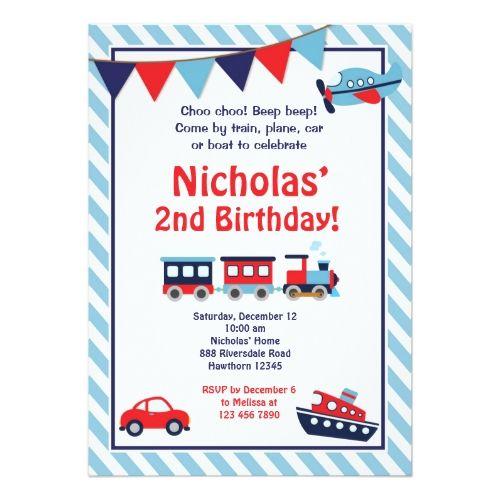 Train Birthday Party Invitations Transportation Invitation Invite
