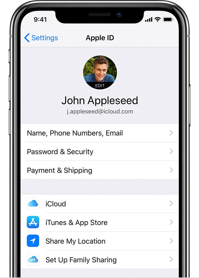 iPhone showing Apple ID screen Apple service, App share