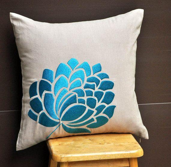 Blue Caroline Throw  Pillow Cover  18 x 18  Decorative by KainKain, $24.00
