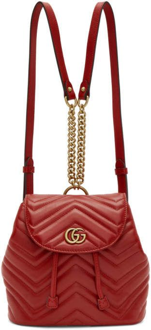 Gucci Red Mini GG Marmont 2.0 Backpack  0a6fc38f79766