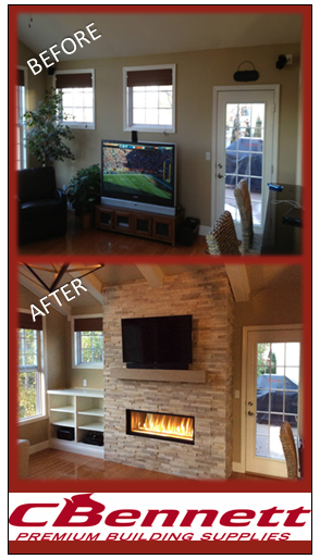 Let C Bennett Remodel Your Fireplace This Before After Photo Was