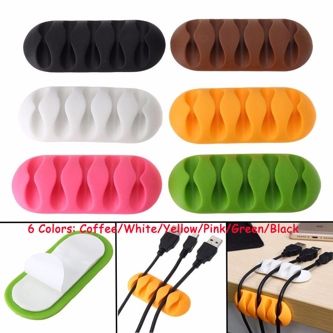 10X Cable Drop Clip Desk Tidy Organiser Wire Cord Lead USB Charger Holder Fixer