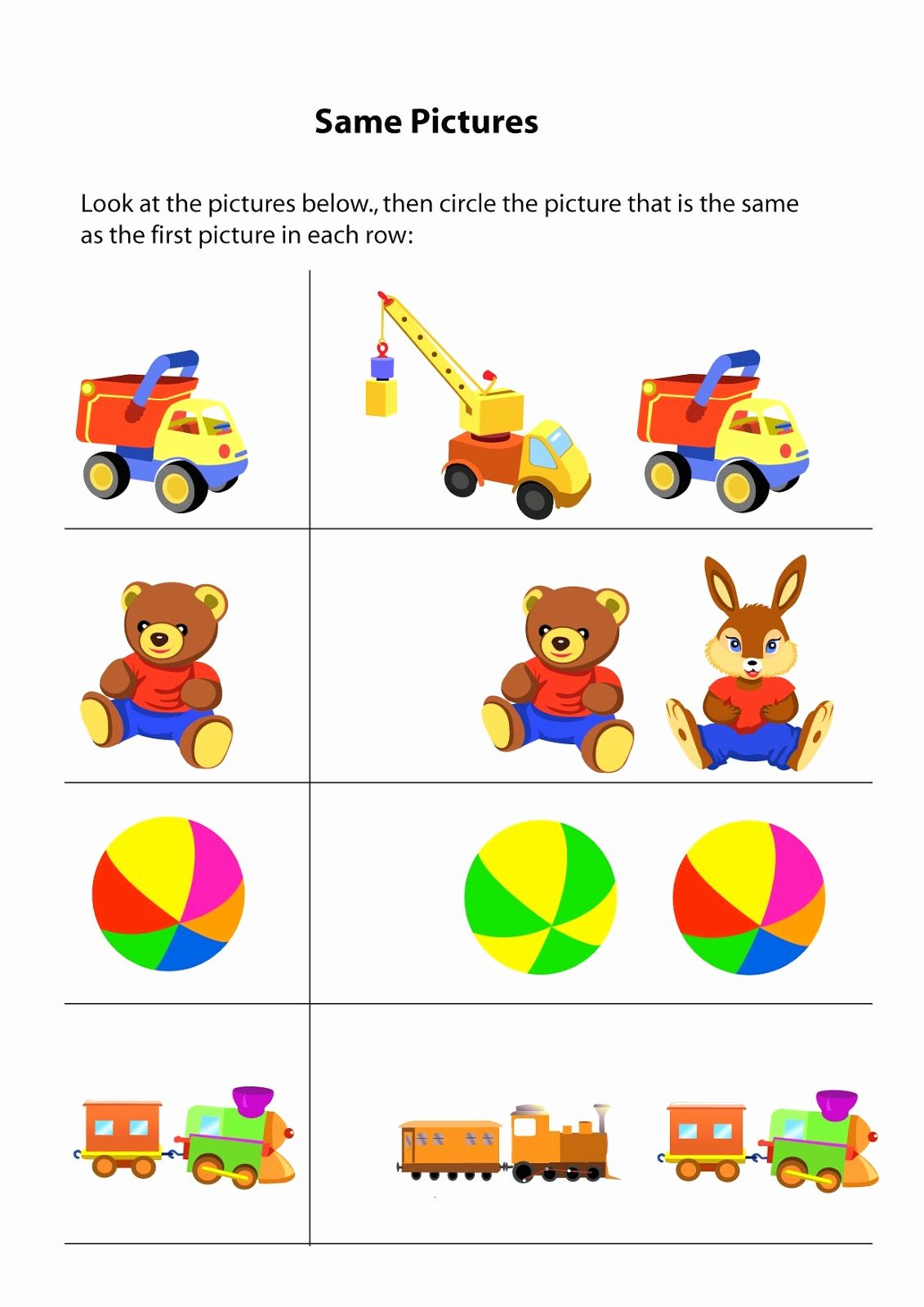 Same And Different Worksheets For Kindergarten In