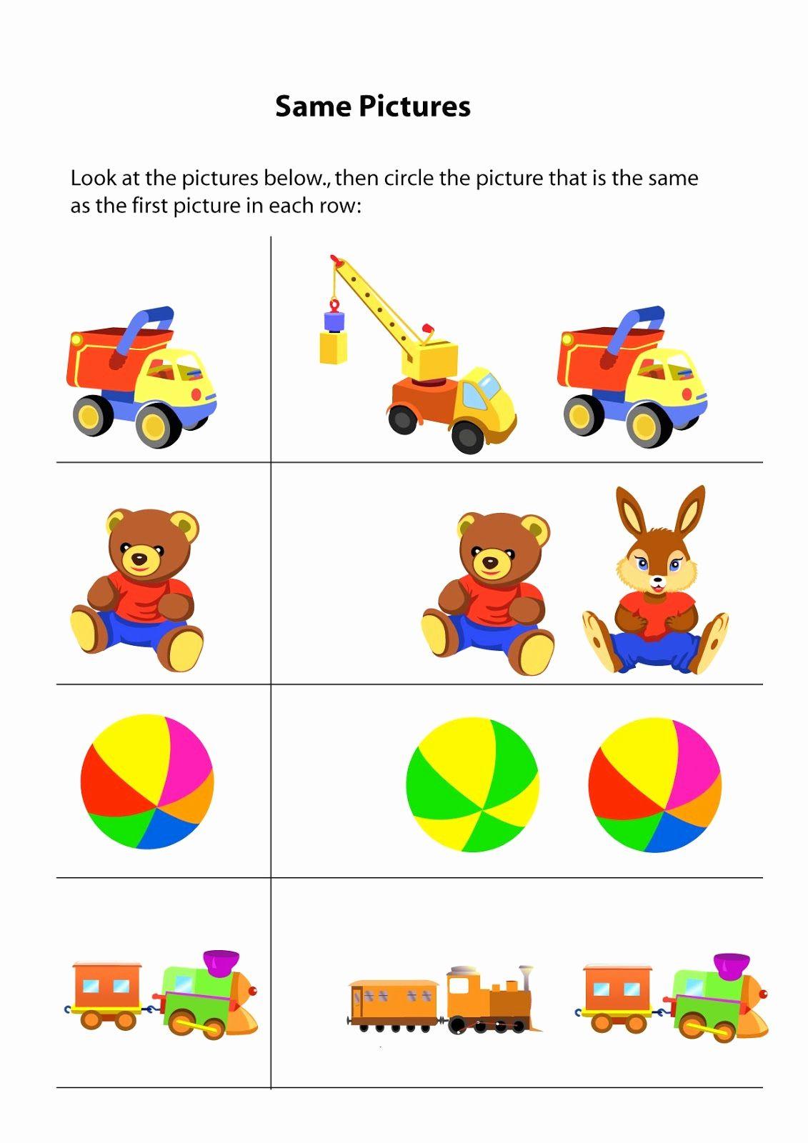 Same And Different Worksheets For Kindergarten In