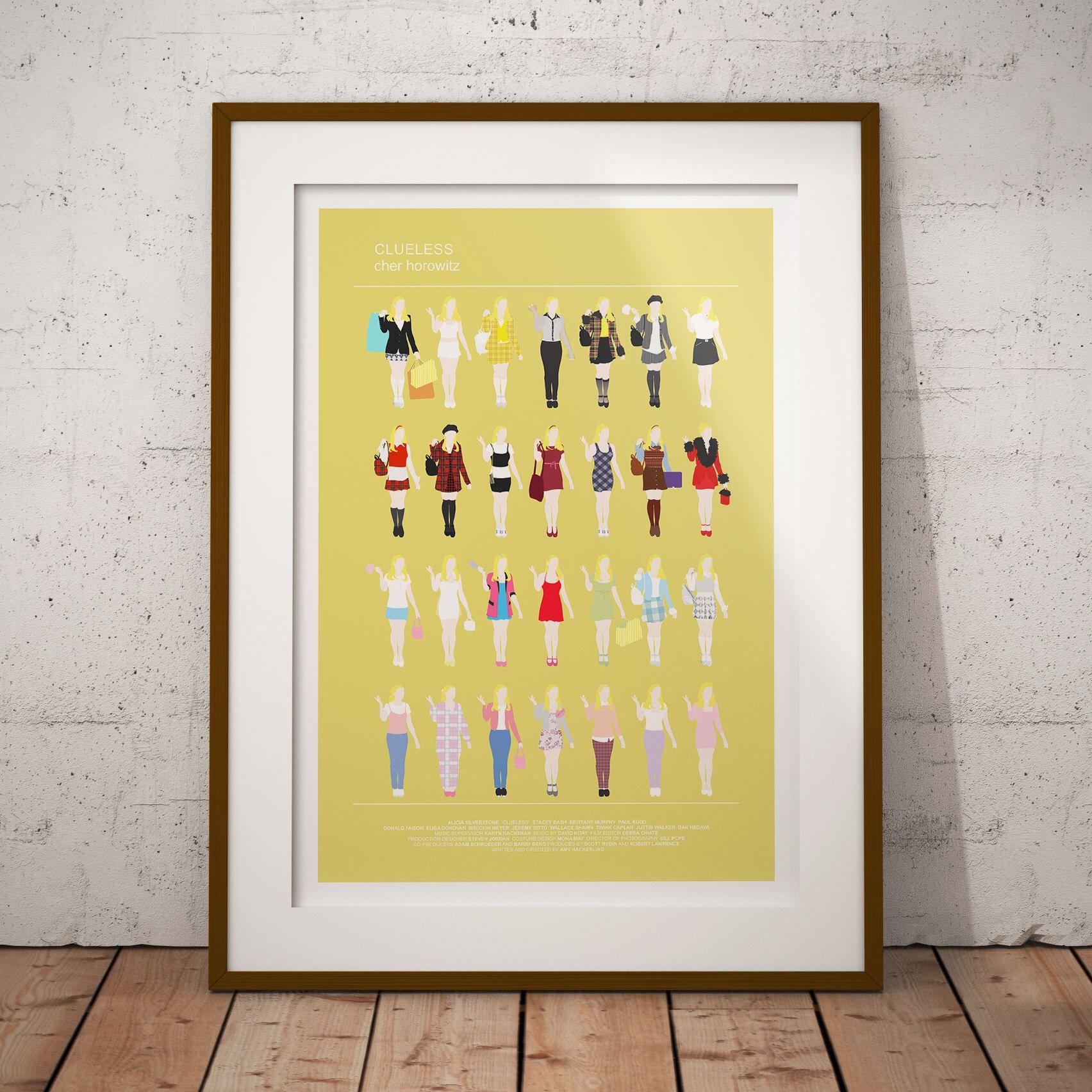 CLUELESS Movie Poster, Minimalist print, Cher Horowitz fashion looks ...