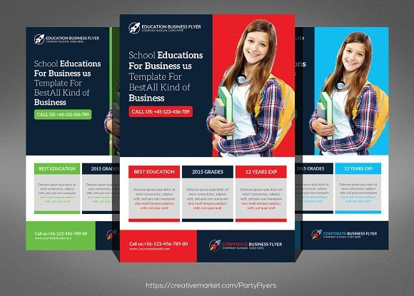 School Education Flyer Template by Party Flyers on @creativemarket - advertisement flyer template