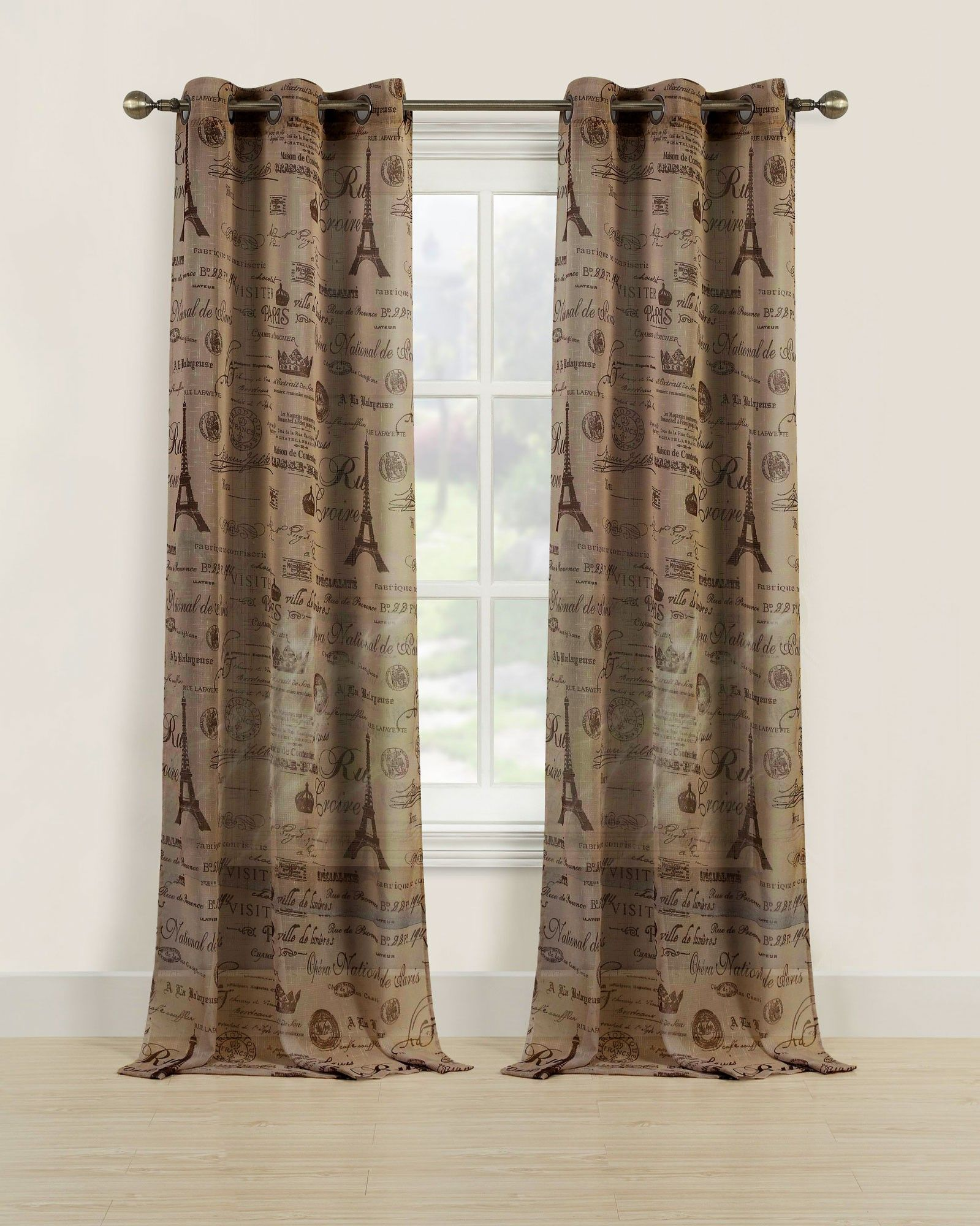 Beatrice Paris Eiffel Tower Sheer Window Curtain Drapes, 84 -