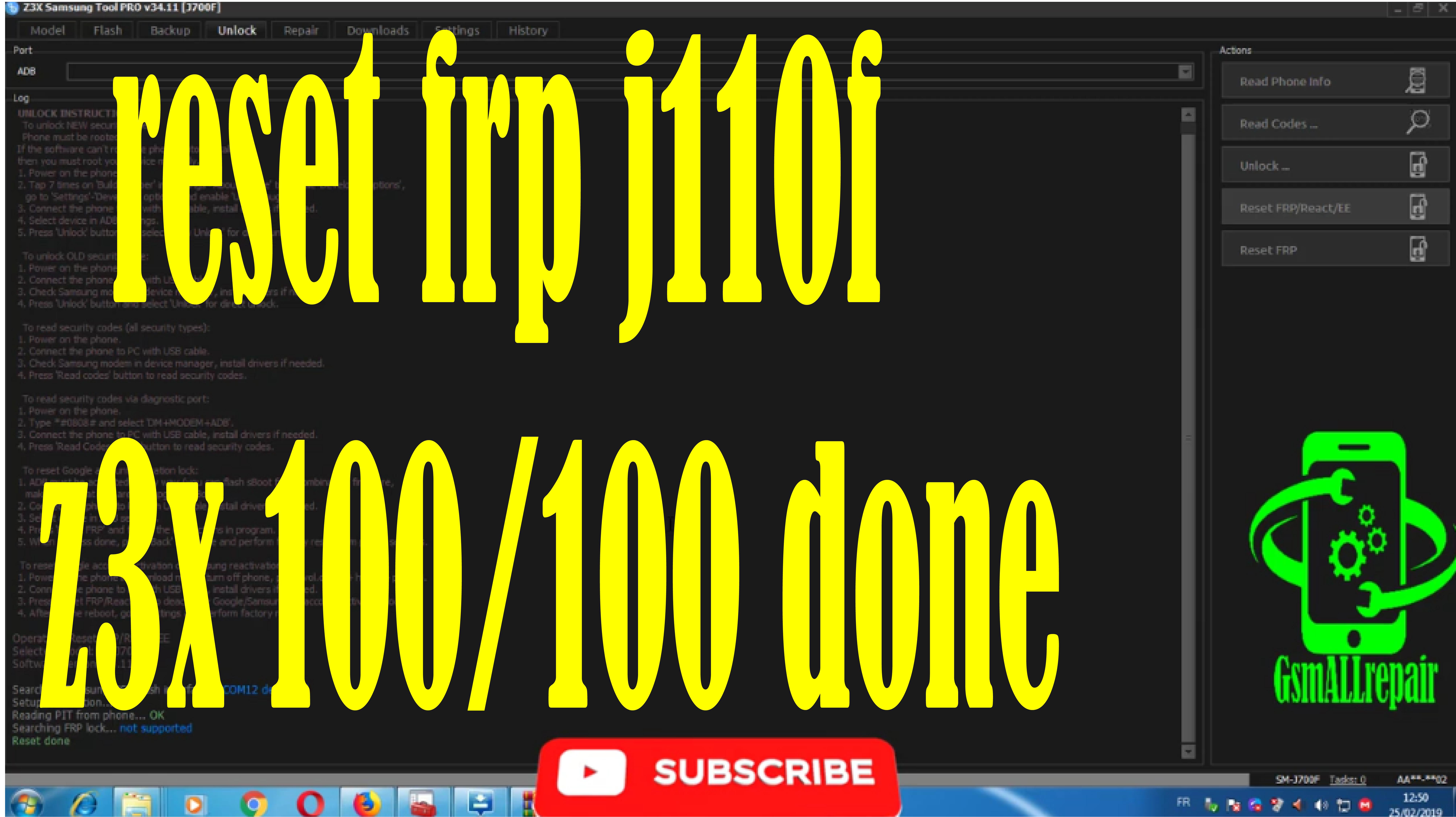 reset frp j110f z3x 100/100 done | frp samsung