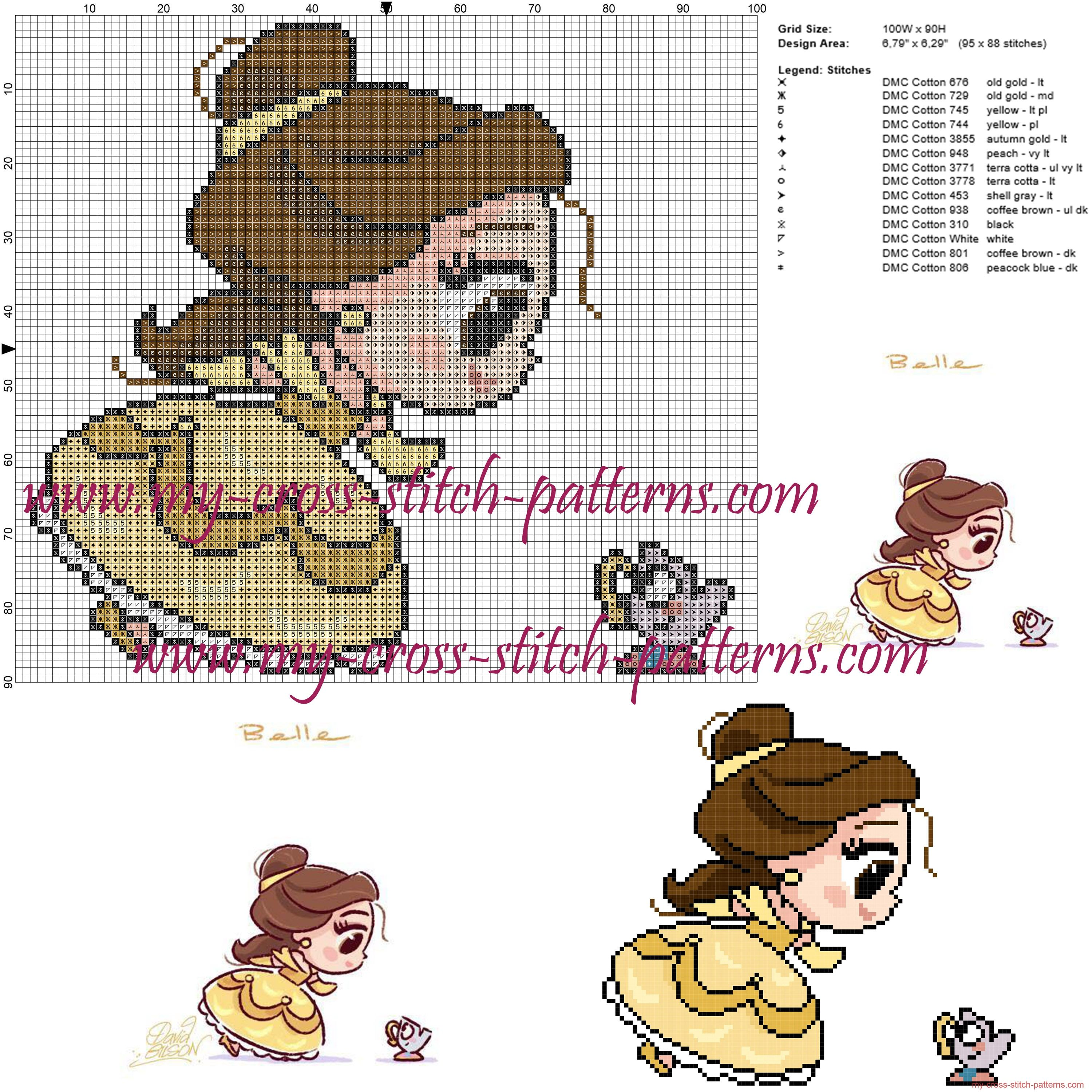 Chibi Belle cross stitch pattern | Ponto de Cruz | Pinterest | Chibi ...