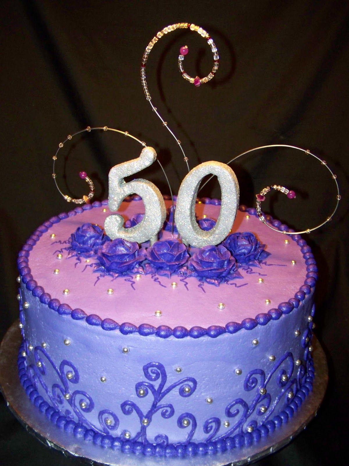 50th birthday cakes Purple and Bling 50th Birthday Cake Cakes
