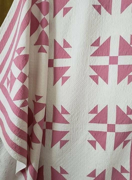 Large! Expert Quilting Antique c20-30s Fox & Geese QUILT Rose Pink & White 93x77   Two color ...