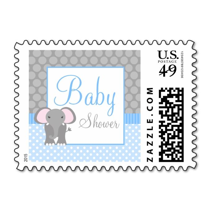 Blue Gray Elephant Polka Dot Boy Baby Shower Postage