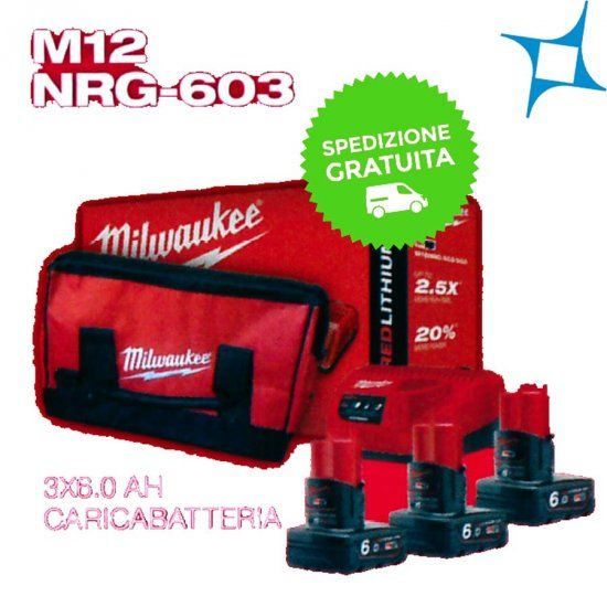 Kit 3 Batterie Milwaukee M12 NRG-603 T 6AH | Batterie e