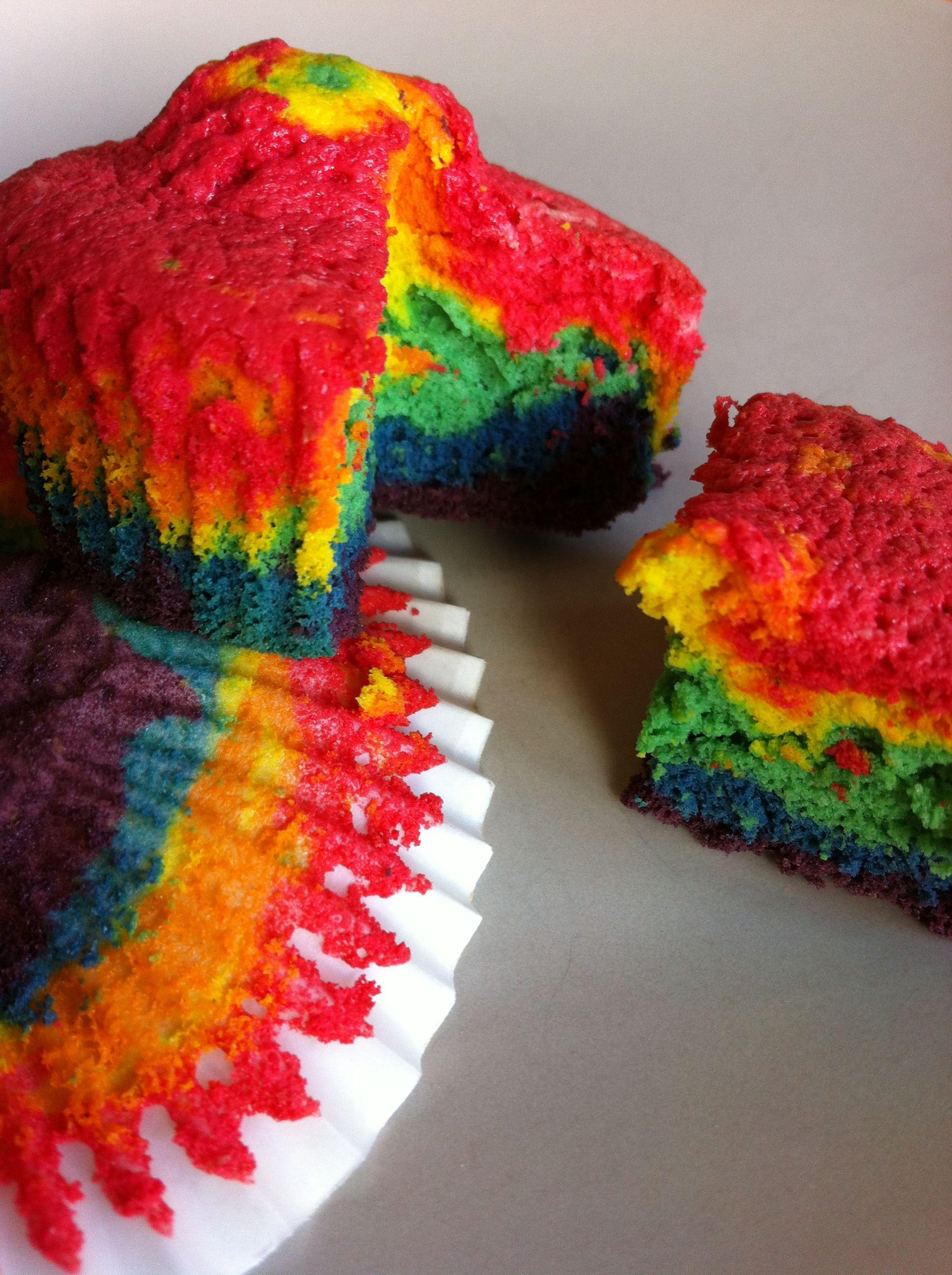 Alles zusammen rühren und dann in sechs Portionen aufteilen. Der Teig muss recht flüssig sein, so das er vom Löffel tropfen kann. Plastikbecher eigenen sich prima, um den Teig in sechs Teile aufzuteilen und ihn dann einzufärben. Jede der Portionen in einer Farbe einfärben und dann jede der Farben nacheinander in ein Muffinförmchen tropfen lassen....Weiterlesen