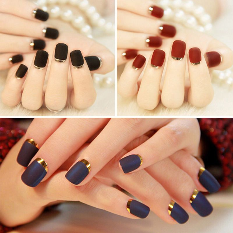 New Artificial Nails Tips Full Fake Matte Texture French Nail Art ...