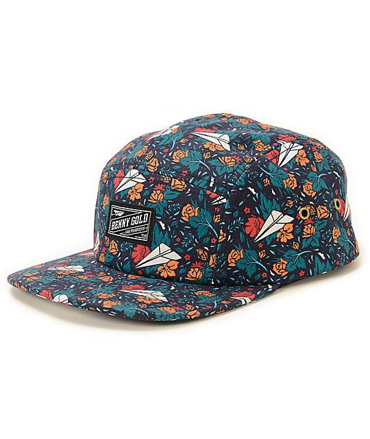 72134855027c6 A floral rose and paper plane logo print provides unique style in a  lightweight cotton design with a Benny Gold logo patch and strapback sizing.