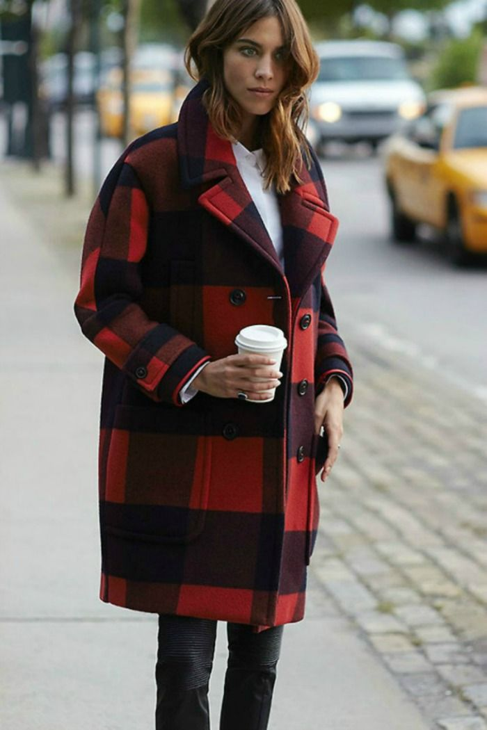 Alexa Chung In Awesome Oversized Checkered Coat Alexa Chung