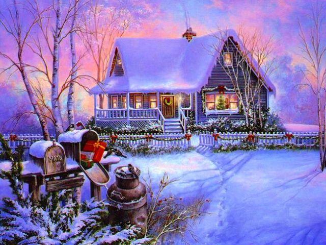 Holiday Screensavers Theme Christmas Holidays 1 640x480 Free Screensaver Wallpaper Christmas Scenery Christmas Scenes Christmas Paintings
