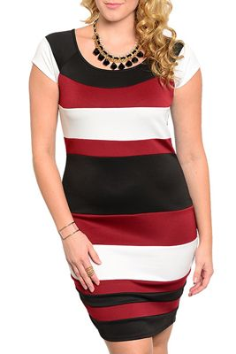 Rock your style in this dress! This dress is made of a lightweight chiffon material! It has bold stripes of color on the front and is a solid black on the back. Cap sleeves are great for changing seasons! Fitted, so great for hugging your curves! Look amazing at your next big event in this dress! DRESS IS A TRUE BURGUNDY IN PERSON