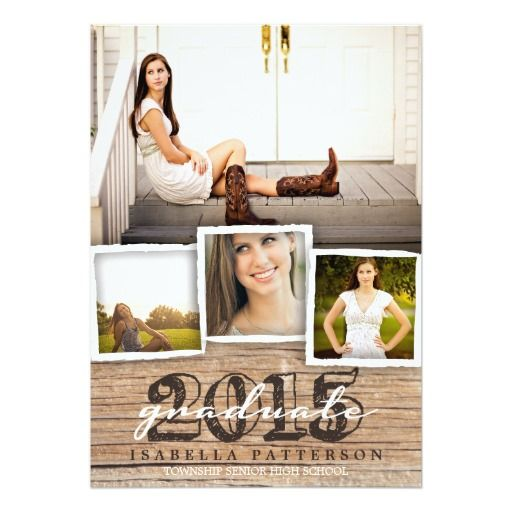 Country Rustic Wood Graduation 2015 Invitation Multi photo Wood