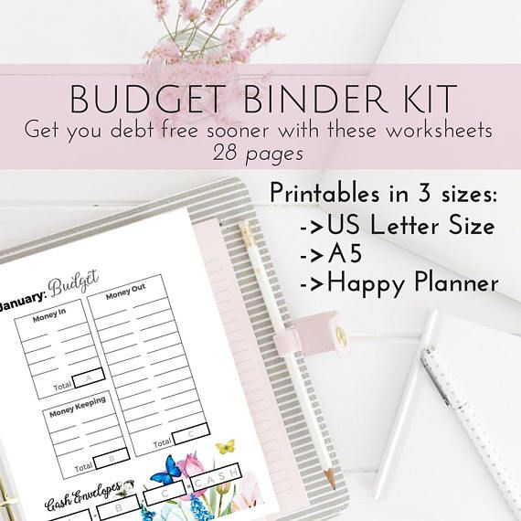 Pretty budget planner kit happy planner printable budget cash pretty budget planner kit happy planner printable budget cash envelope system template personal finance household planner printables solutioingenieria Choice Image