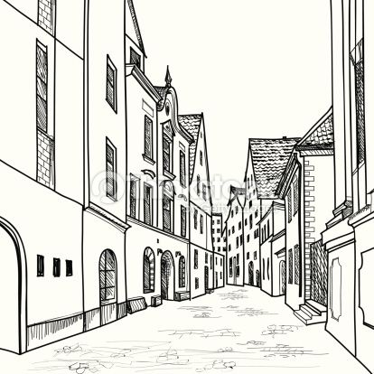 European Downtown Landscape Vector Illustration Pedestrian Street In The Old City With Church On Background Historic Hand Drawn