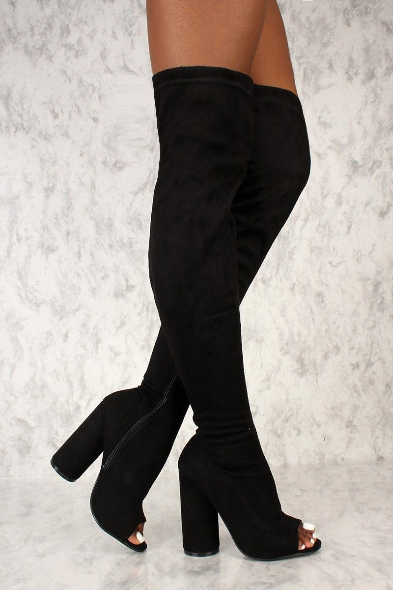71700bb7760d Buy Sexy Black Open Toe Thigh High Circle Chunky Heel Boots Faux Suede with  cheap price