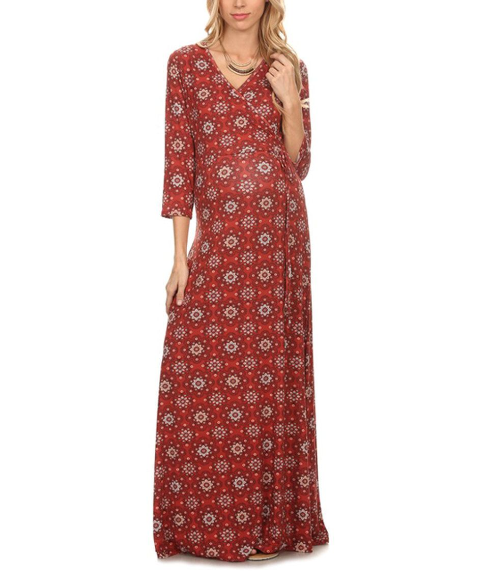 Take a look at this Rust Arabesque Maternity Maxi Dress today!