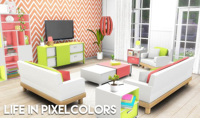 Sims 4 Cc S The Best Life In Pixelcolors Livingroom Set By Plumbo