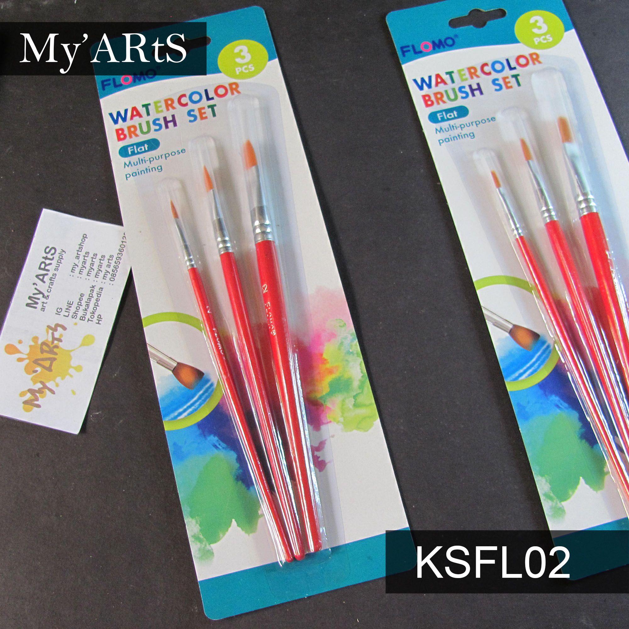 Flomo Watercolor Brush Set Flat Kuas Lukis Set Kuas Cat Air