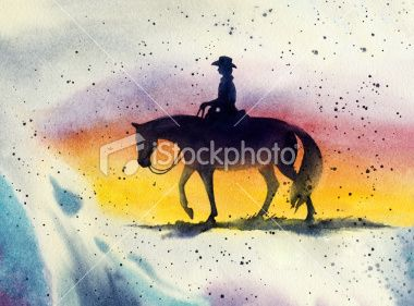 Western Horse and Rider ~ Royalty Free Stock Art Illustration by Sandy Sandy Spiritartist / http://www.istockphoto.com/stock-photo-9736962-western-horse-and-rider.php